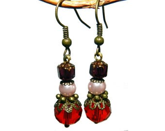 Earrings, vintage style, red, pink and Burgundy