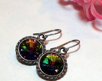 Vitrail Swarovski Crystal Earrings on Gunmetal Plated Ear Wires - Rivoli Crystal Dark Rainbow Black Pewter