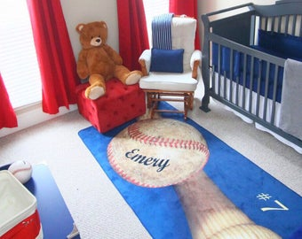 Baseball Decor, Baseball Area Rug, Personalized Rug, Custom Rug, Baseball Matt, Baseball Rug, Custom Name, Number, Nursery Rug, Kids Room
