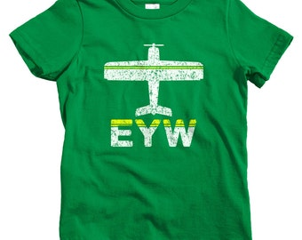 Kids Fly Key West T-shirt - EYW Airport - Baby, Toddler, and Youth Sizes - Florida Keys Tee - 2 Colors