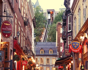 Old Quebec City Village - Wall Decor - Fine Art Photography Print - Funicular Funiculaire Shops European Charm
