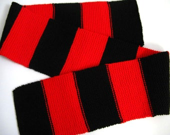 Red and Black Knit Scarf, 61 inches, Red and Black Stripes, Hand Knitted Mens Scarf, Womens Scarf