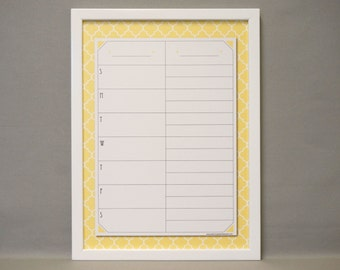 Saffron Quatrefoil Print Framed Weekly Calendar / Meal Planner Whiteboard - Yellow Moroccan Tile Dry Erase Board - Framed Wall White Board