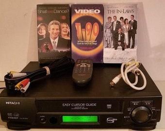 HITACHI Vt-Fx 6407AS Hi-Fi Stereo Vhs VCR plus+ Cassette Player w/Remote BUNDLE!!