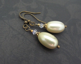 Sage Green Pearl Earrings Dainty Dangle Drop Antiqued Brass Wedding Bridal Gift for Her