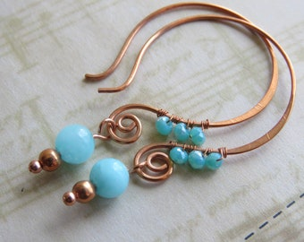 Open Hoop Earrings in Copper Sky Blue Amazonite