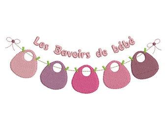 Instant download laundry clothesline baby bib embroidery design machine