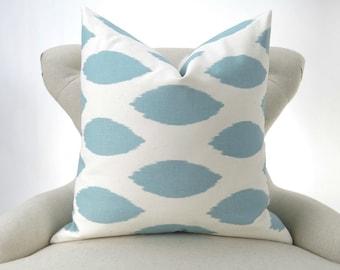 Blue Ikat Pillow Cover -MANY SIZES- Light Blue Ikat Cushion Cover, Euro Sham, Off-white/Ecru Throw, Chipper Village Premier Prints, FREESHIP