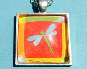 Dragonfly art print, glass dome pendant necklace, gift idea, dragonfly, nature lovers, love of dragonfly