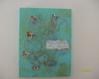 Time Traveller mixed media canvas