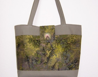 Canvas Totebag,  Taupe Canvas Tote, Olive Print Bag, Multiple Pocket Tote
