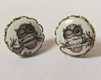 Vintage Earrings, Lois May Thayer Owls, Post Earrings, Small Studs