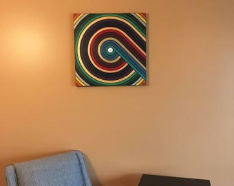 """Retro Circles, Modern Geometric Original Abstract Acrylic Art Painting on stretched canvas, 20"""" x 20"""" by The Violet Shamrock"""