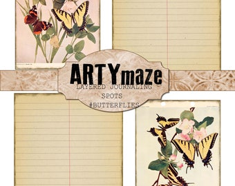 BUTTERFLY THEMED Layering JOURNALING cards/ephemera