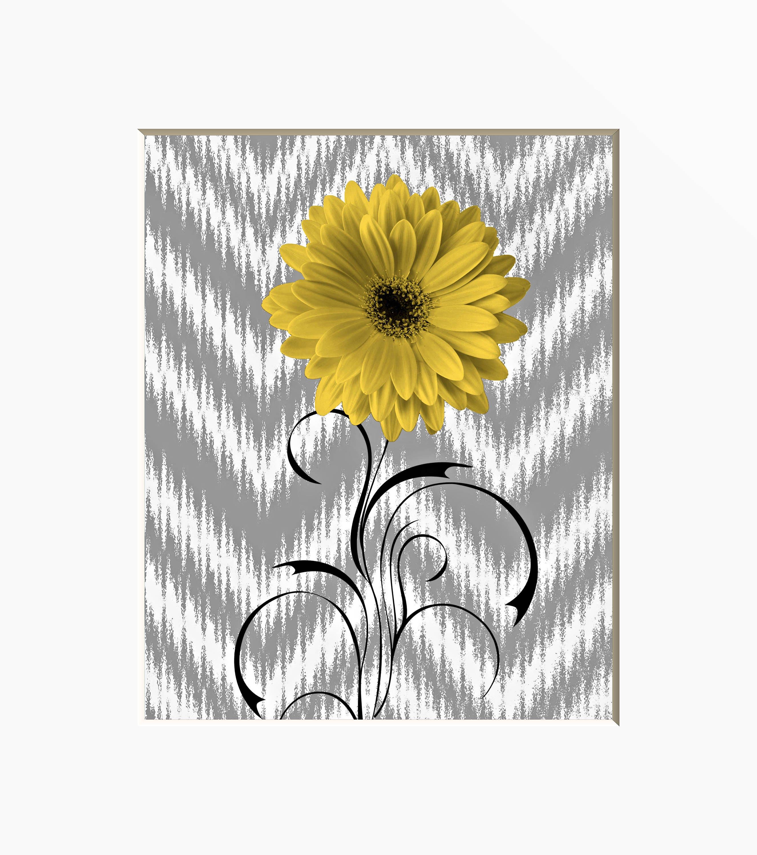 Yellow Gray Modern Daisy Flower Home Decor Wall Art Matted