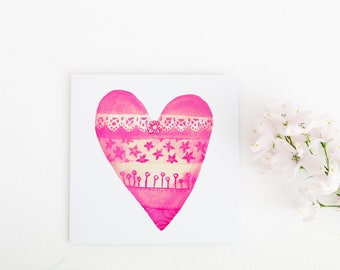 Perfect for Girls, Valentines Card, Favourite Color is Pink, Lacy Heart, Greeting Card for best friend, Wife Gift, Bridesmaid Card, Love Mum