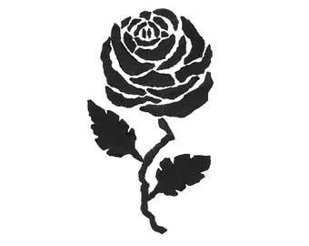 Rose mixed media black white print download