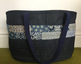 Denim and Liberty Fabric Market Bag