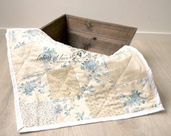 Light Blue Mini Quilt, Newborn Photography Prop
