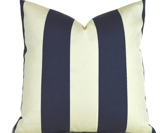 Indoor Outdoor Pillow Covers ANY SIZE Decorative Pillows Navy Blue Pillow Premier Prints Outdoor Vertical Deep Blue and Ivory