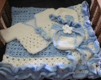 Blue and White Hand Crochet Baby Blanket with Sweater, cap and diaper cover