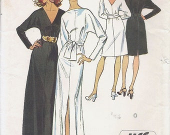 70s Simplicity 5363 Misses' Jiffy Dress in Two Lengths and Sash Sewing Pattern UNCUT