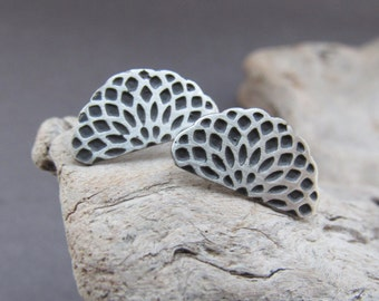 Mandala Stud Earrings, Sterling Silver Stud Sacred Earrings, Mandala Earrings, Post Earrings, Gift for Her, Mandala Art, Silver Earrings