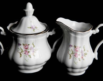Vintage Wakbrzych Creamer & Sugar Bowl w/ lid ~ White Porcelain Pink Flowers ~ Gift for Her ~ Tea Party