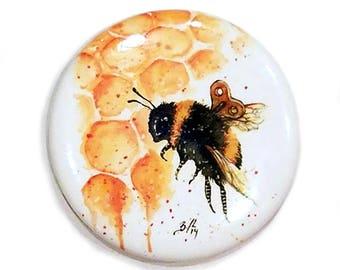 Clockwork Bee II Magnet: Watercolour Steampunk Bee