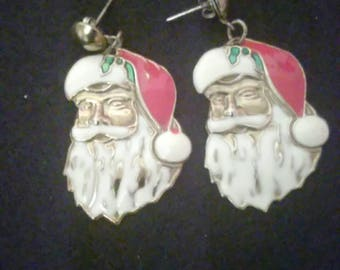 Vintage Christmas Santa Claus Dangle Earrings Holiday Jewelry