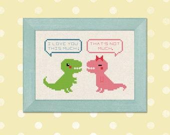 Trex Love Cross Stitch Pattern. Cute Tyrannosaurus Rex Dinosaur Modern Simple Cross Stitch Pattern PDF Instant Download