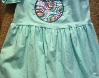 Bunny Dress - Aqua - Bunny Applique -