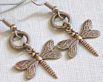 Silver Dragonfly Earrings - Dragonfly Jewelry, Nature Jewelry, Garden Jewelry