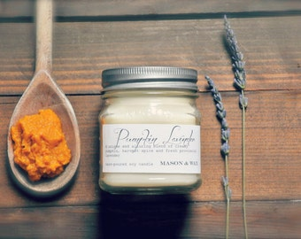Pumpkin Lavender Mason Jar Soy Candle   Lavender Candle   Pumpkin Candle   Gift Ready   Phthalate Free