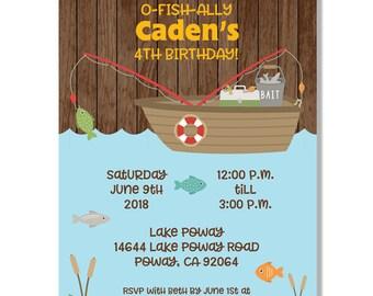 Gone Fishing Birthday Invitation - Digital File