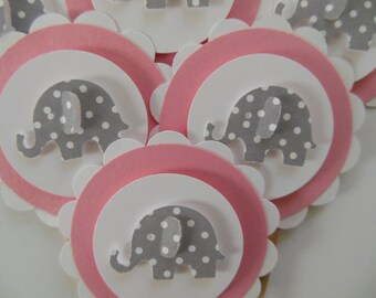 Elephant Cupcake Toppers - Pink and White with Gray Polka Dot Elephants - Girl Birthday Parties - Girl Baby Showers - Set of 6