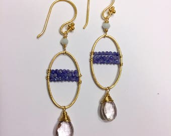 Sapphire, opal and rose quarts big dangle drop earrings with gold fill findings