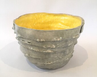 Wabi-Sabi Yellow and Grey Bowl