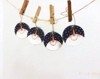 Snowmen Gazing At Stars Tole Painted Ornaments | Circular Snowman Face Ornaments