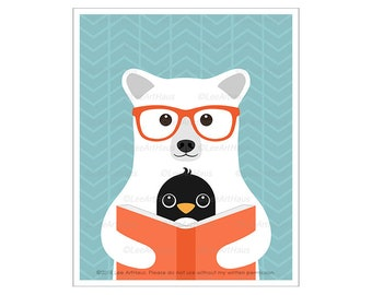 150A Polar Bear Print - Polar Bear and Penguin Reading Book Wall Art - Penguin Print - Animal Nursery Decor - Boys Nursery Art - Bear Art