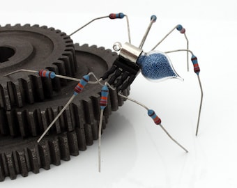 Unique Steampunk Recycled Spider- Halcyon- Halloween upcycled blue resistor chip electrical component spider desk sculpture- gifts for him