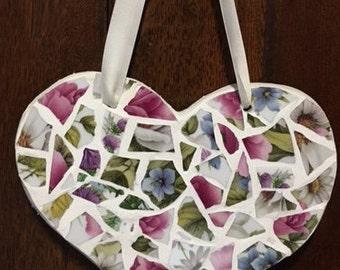 Floral mosaic flower's heart mosaic heart
