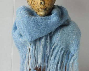 Handmade Handwoven Winter Scarf Shawl Wrap Wool Light baby blue Mohair Wool Warm Gentle Soft Generous size