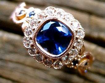 Royal Blue Sapphire Engagement Ring in 14K Rose Gold with Diamonds and Sapphires in Flower Blossoms and Leafs on Vine Motif Size 6