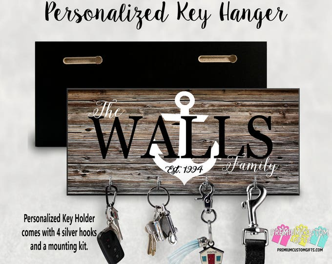 Family Name With Anchor Wall Key Hanger - Personalized Key Holder - Wall Key Holder - MDF Wall Key Hanger - Housewarming Gift - Wedding Gift