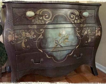 Hand Painted French Style Chest with Mocking Bird