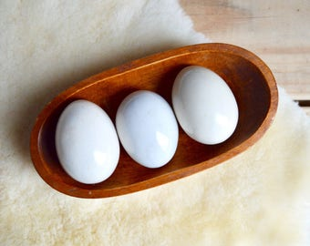 Vintage Ceramic Eggs, Natural White, Set of Three