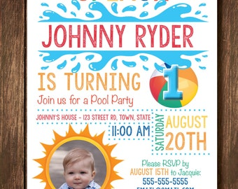 First Birthday Pool Party Invitation with Photo - Digital Copy