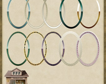 10 Art Deco Oval Frames Instant Digital Download