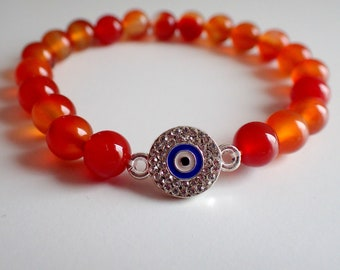 Evil eye bracelet, Carnelian bracelet , Protection bracelet , Gift for her , healing bracelet , Girlfriend gift